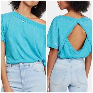 Free People Viola Open Back High Neck Tee NWT L
